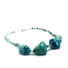 Load image into Gallery viewer, SLJ Turquoise Stone Choker Necklace Stone Beaded Handmade Natural Spiritual Travel Resort Boho Chic Collection