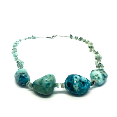 SLJ Turquoise Stone Choker Necklace Stone Beaded Handmade Natural Spiritual Travel Resort Boho Chic Collection