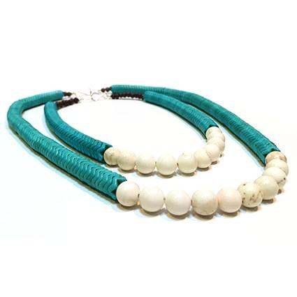 SLJ Turquoise Temptress Round Necklaces Stone Beaded Handmade Natural Spiritual Travel Resort Boho Chic Collection Choose Length Stack Jewelry for Bold Fashion