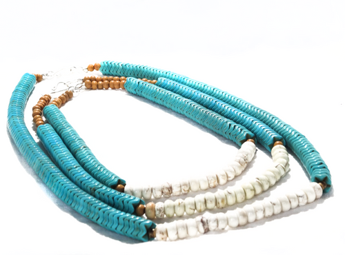 SLJ Turquoise Temptress Necklaces Stone Beaded Handmade Natural Spiritual Travel Resort Boho Chic Collection Choose Length Stack Jewelry for Bold Fashion