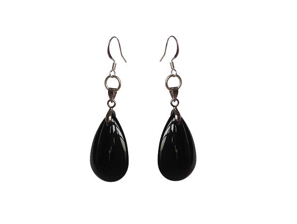 SLJ Vintage Teardrop Earrings Handmade Evening Unique Fashion Jewelry Travel Jewelry Clearance Sale Bridal Gift Graduation Black