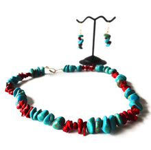 Load image into Gallery viewer, SLJ Volcanic Rubble Choker Set Turquoise Coral Necklaces Stone Beaded Handmade Natural Spiritual Travel Resort Boho Chic Collection Necklace Earrings