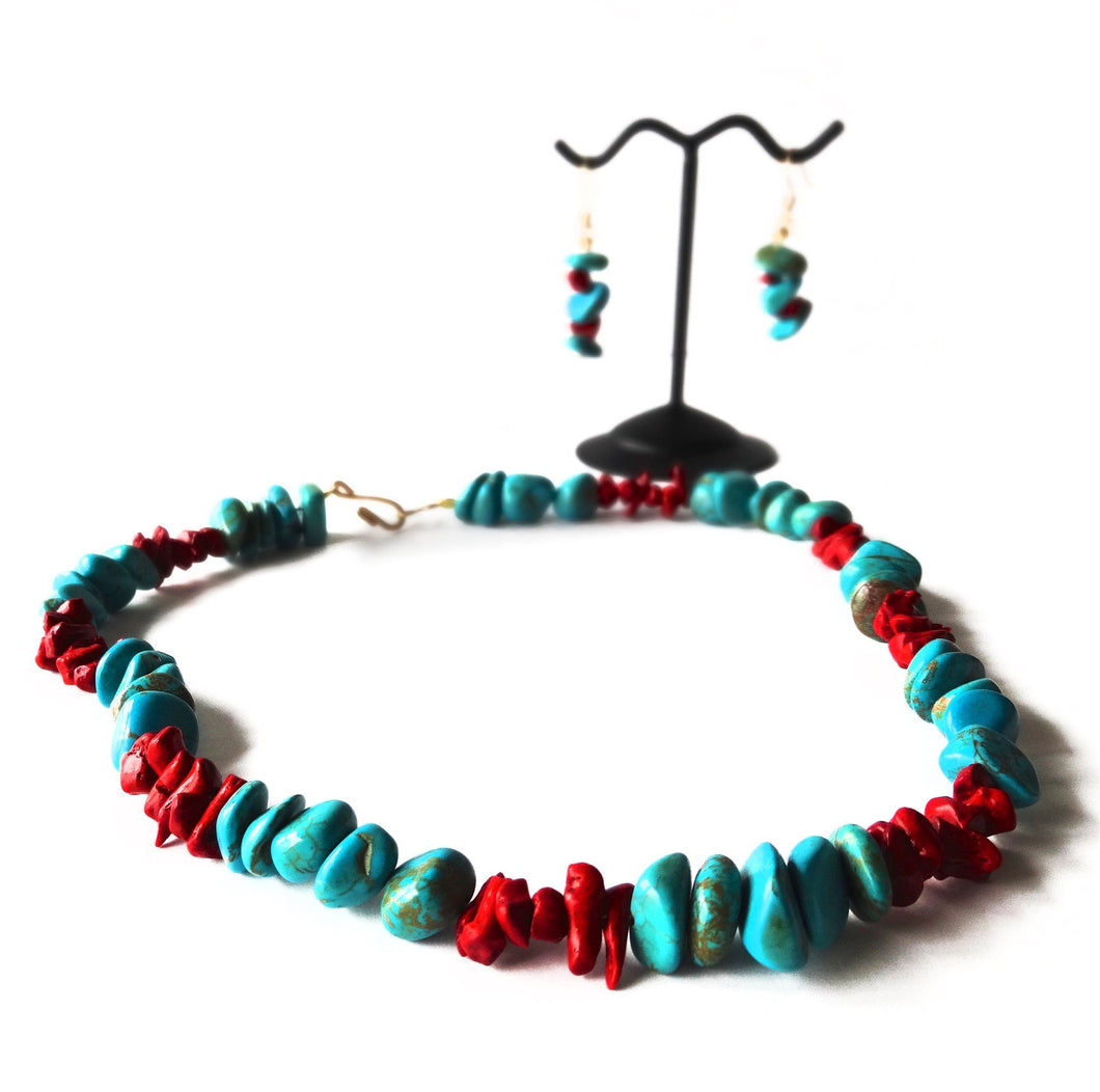 SLJ Volcanic Rubble Choker Set Turquoise Coral Necklaces Stone Beaded Handmade Natural Spiritual Travel Resort Boho Chic Collection Necklace Earrings