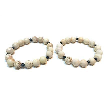 White Obsidian Bangles (set of 2) - Sasha L JEWELS LLC