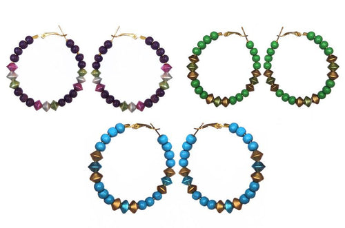 Designer Beaded Hoops - Sasha L JEWELS LLC