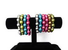Load image into Gallery viewer, SLJ Metallic Bangles Bracelets Blue Pink Green Silver Gold Bold Color Handmade Urban Street Unique Fashion Pop Jewelry Travel Urban Retro Chic Collection Beaded Stack Jewelry Choose 3 colors