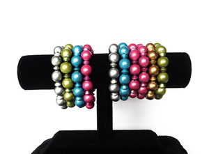 SLJ Metallic Bangles Bracelets Blue Pink Green Silver Gold Bold Color Handmade Urban Street Unique Fashion Pop Jewelry Travel Urban Retro Chic Collection Beaded Stack Jewelry Choose 3 colors