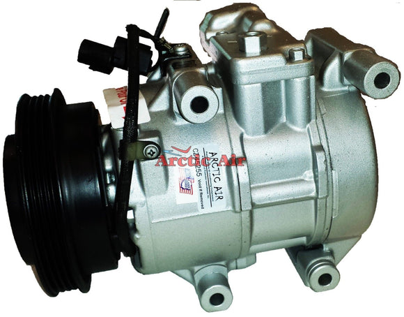 157350 AC compressor for 2007-2009 Kia Spectra and Spectra5 (front view)