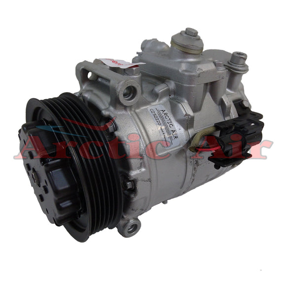 157375 AC compressor for 2005-2009 Jaguar Super V8 and 2004-2009 Vanden Plas (front view)
