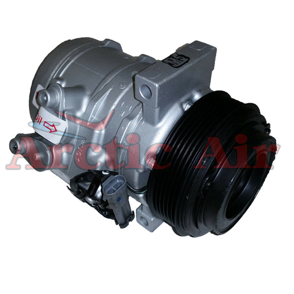 197353 AC compressor for 2010-2014 Chevy Express/Silverado and GMC Savanna/Sierra (front view)