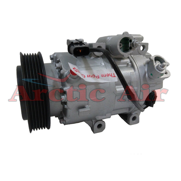 197377 AC compressor for 2013-2017 Hyundai Santa Fe and Kia Sorento (front view)