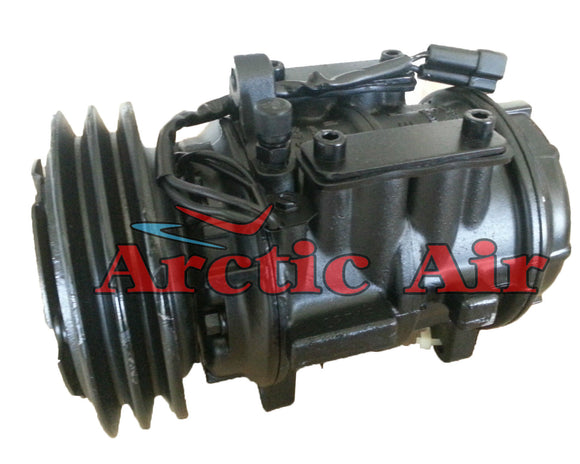 57104 AC compressor for 1984-1987 Chrysler Executive Limo, Dodge Aries, and Plymouth Reliant (front view)