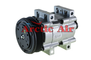 57124 AC compressor for 1988-1993 Ford E/F Series, Lincoln Continental, and Mercury Sable (front view)