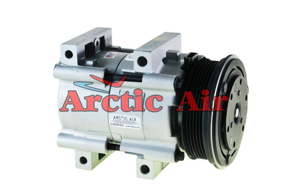 57140 AC Compressor for 1990-2006 Ford Aerostar/Mustang and Mercury Cougar/Mountaineer (front view)