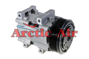 57161 AC compressor for 1989-2003 Mercury Cougar, Ford Thunderbird, and Super Duty Series (front view)
