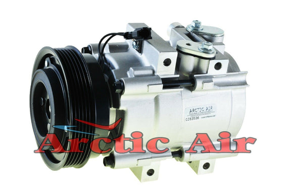 57185 AC Compressor w/clutch for 1999-2005 Sonata and 2001-2006 Optima (front view)