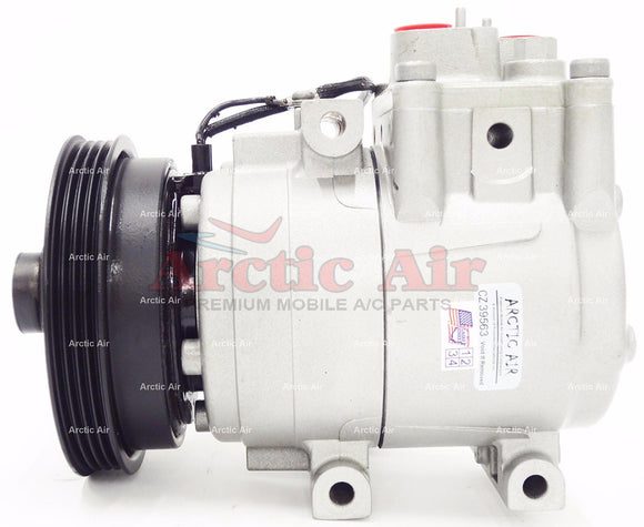 57191 AC Compressor for 2001-2002 Kia Rio (front view)