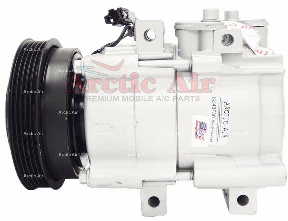 57189 Compressor for 1999-2005 Hyundai Sonata and 2001-2006 Kia Optima (front view)