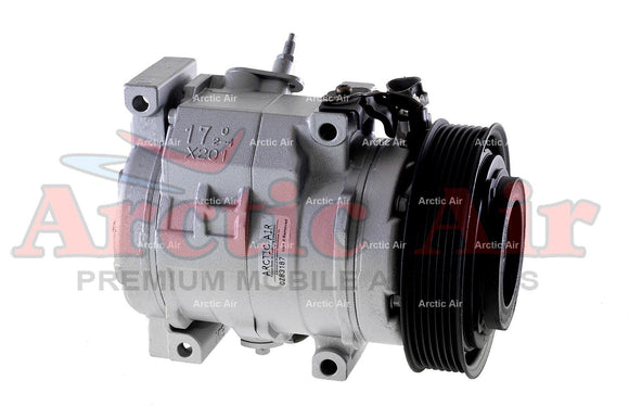 77388 AC Compressor for 2002-2006 Toyota Camry, 2001-2007 Toyota Highlander, and 2002-2008 Toyota Solara (front view)