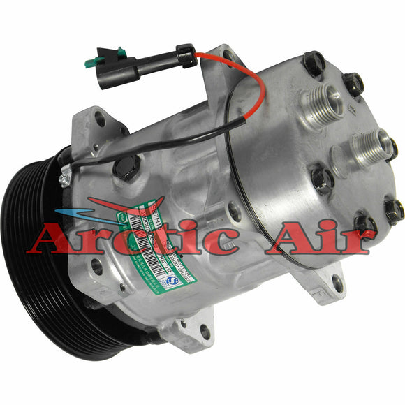 77567 AC Compressor for Freightliner ABPN83304552, Sanden 4637, and Gemini 8670-8970 (front view)