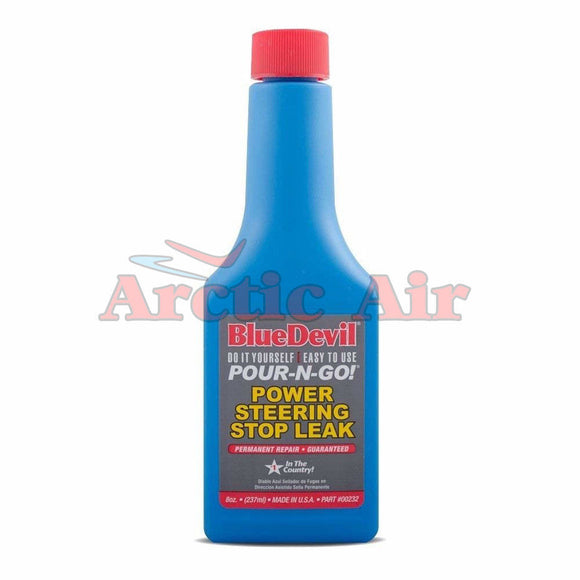 Front of BlueDevil Power Steering Stop Leak 8oz bottle