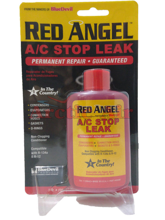 Front of Red Angel A/C Stop Leak Permanent Seal packaging