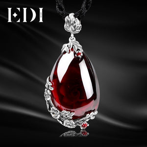EDI Retro Royal Garnet Gemstone 100% 925 Sterling Silver Natural Chalcedony