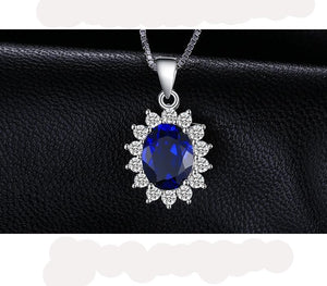 Oval Princess Diana William Pendant Created Blue Sapphire Pendant 925 Sterling Silver Not Including Chain Jewelry