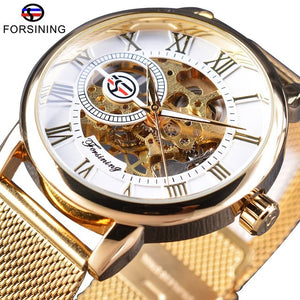 Transparent Case Fashion 3D Logo Engraving Golden Stainless Steel Men Mechanical Watch Top Brand Luxury Skeleton