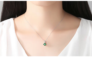 Necklace Emerald Green Cubic Zirconia Popular Jewelry 925 Sterling Silver P