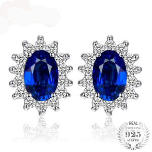 Princess Diana William Kate Middleton's 1.5ct  Blue Created Sapphire Stud Earrings 925 Sterling Silver Earring