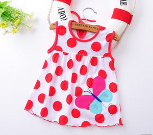 Flower Printed Toddlers Girls Princess Dresses Baby Girls A-Line Lovely Sleeveless Dress Kids Girls Soft Cotton Clothes