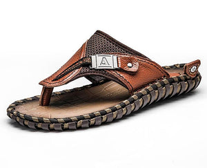 Brand Men's Flip Flops Genuine Leather Luxury Slippers Beach