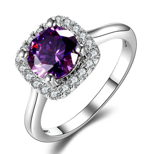 Rings Natural Amethyst Ring For Women Fashion 925 Silver Jewelry