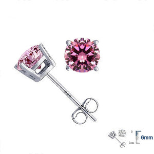 Elegant Genuine 925 Sterling Silver Crystal Stud Earrings Fine
