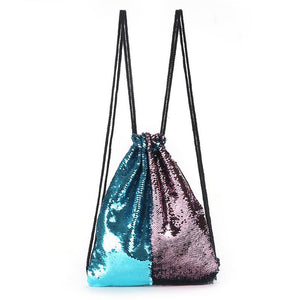 Fashion Mermaid Double Color Sequins Drawstring Backpack Women