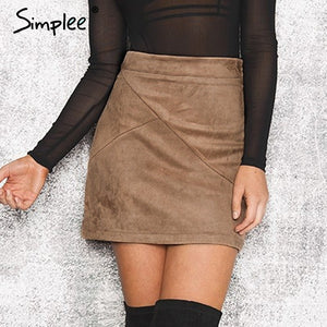 vintage leather suede pencil skirt winter