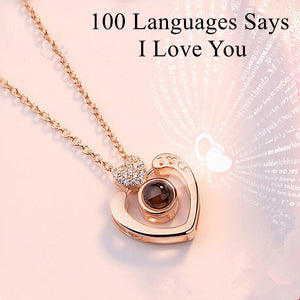 Gift for girlfriend 100 Languages Says I love You Projection Heart Necklace