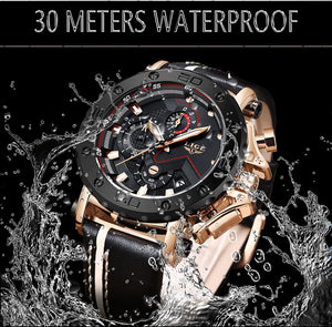2019 New Fashion Watches Mens Top Brand Luxury Large Dial Military Waterproof Leather Quartz Sport Chronograph Watch Men