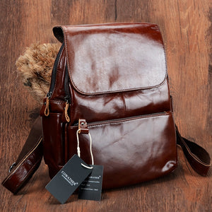 Vintage cow genuine leather backpacks for women