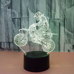 Valentines day gift 3D Hologram ride motorcycle Lamp Lights