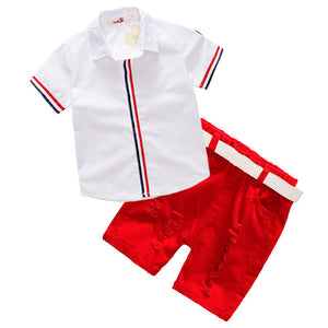 Boys Set Short Sleeve Shirt Shorts 2 Piece Set Belt Gift Summer Hot Explosion Gentleman Boy Baby Clothes