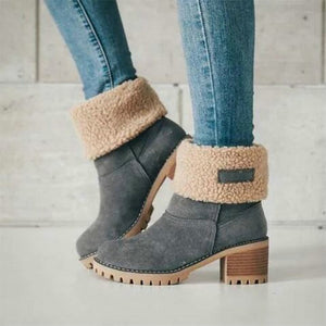 Winter Plush Warm Women Boots 2019 Women Square Heel Ankle Snow Boots Ladies
