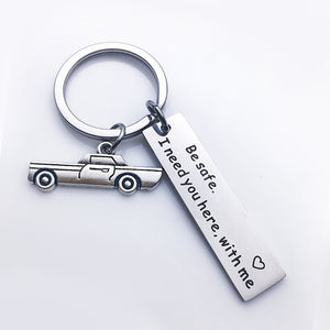"Love Slogan Car Key Rings ""Drive Safe, Love you"" Stainless Steel"