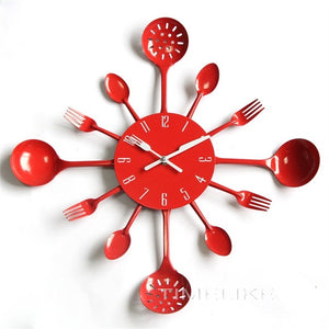 2019 New Arrivals Fashion Style Wall Clock Metal Kitchen Cutlery Slient Clock Spoon Fork Home Decoration Art Watch Horloge Mural