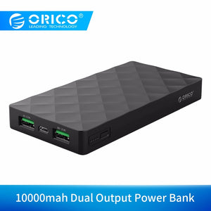 ORICO 10000mah  External Battery Pack 5V2.1A Dual USB Port Power Bank Charge for Samsung Xiaomi Huawei Tablet