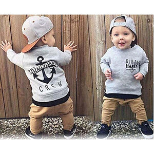 Fashion 2019, for Kids Gray Cotton Sweater + Khaki Pants.