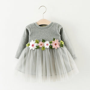 2019 Spring and Autumn Girl's Waist Flower Long Sleeve Dress