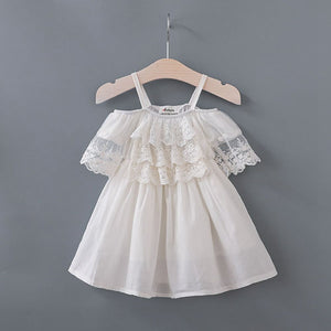 Girl Dress with White Chiffon