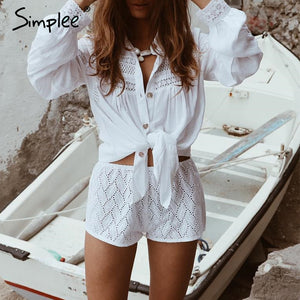 white beach cover up blouse shirt Summer swimsuit